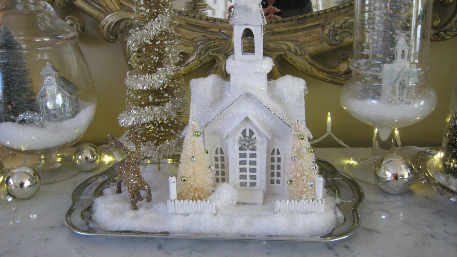 ON SALE Christmas Snowy Church Vignette on Vintage Silver Tray - elegantentrances