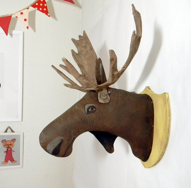 Moose Head-- Original Contemporary Folk Art-- Friendly Taxidermy-- Made to order within a week-- LAST ONE