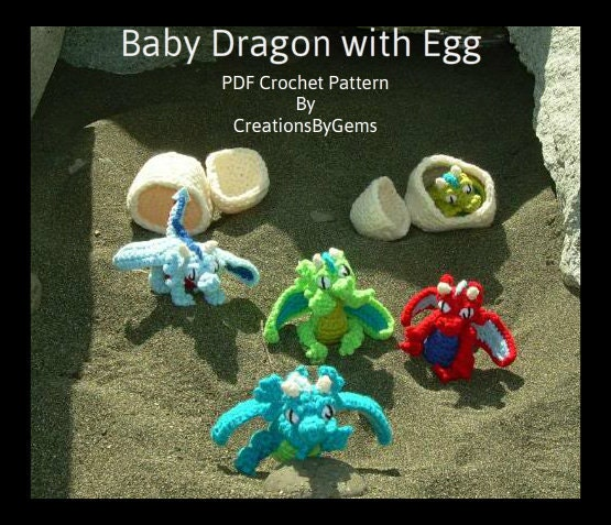Baby Dragon and Egg PDF Crochet Pattern by by GemCreations ...