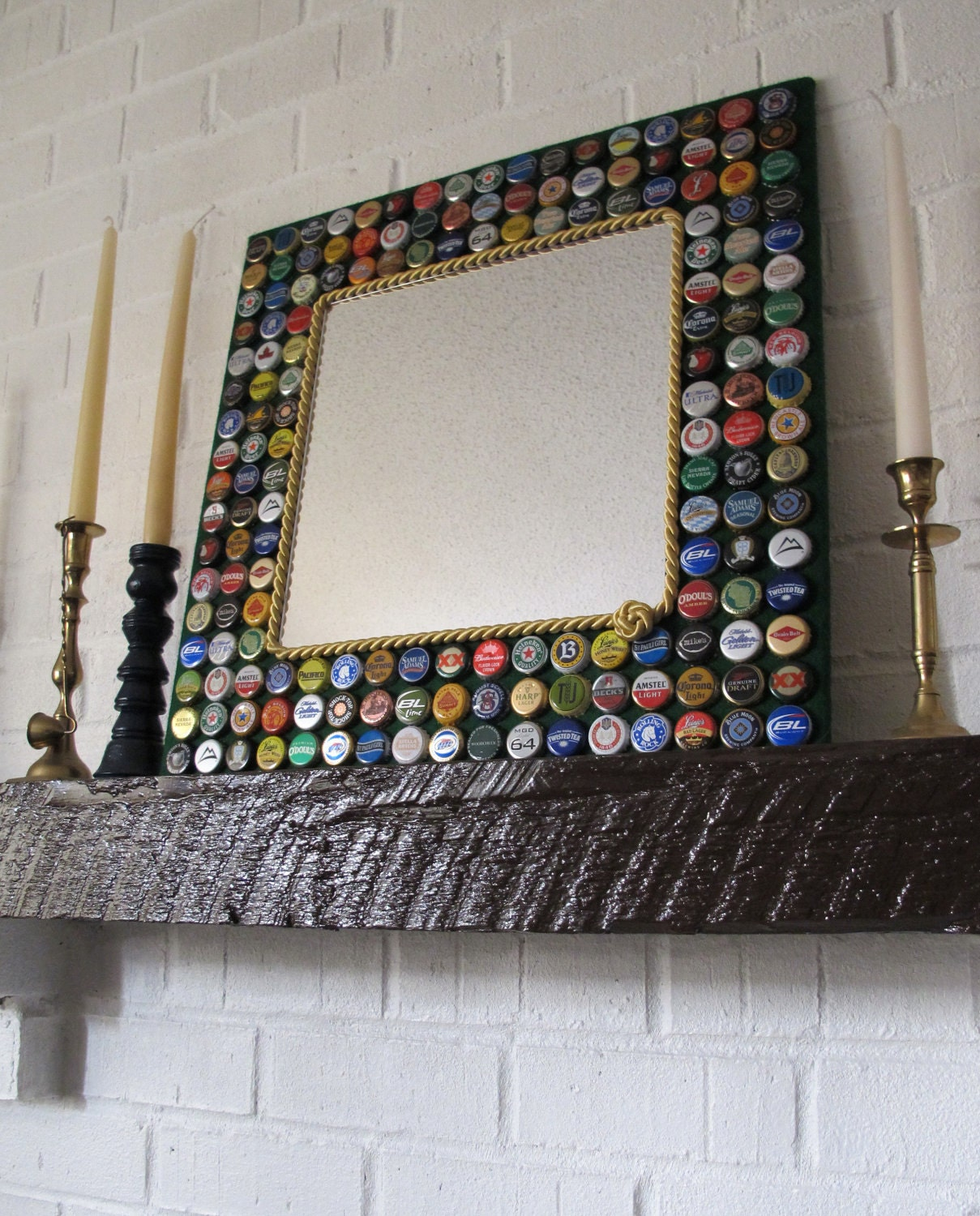 Beer Bottle Cap Mirror-Beer/Bottle Caps/Mirror/Bottle Cap Furniture ...: www.etsy.com/listing/91844166/beer-bottle-cap-mirror-beerbottle