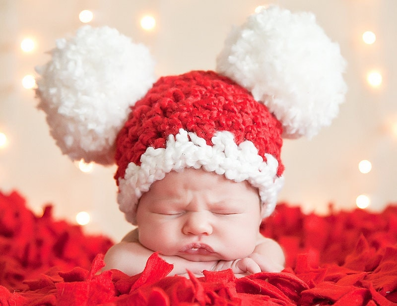 Christmas Baby Santa Hat, Baby Hat, 0 to 3 Month Baby Girl Baby Boy Crochet Pom Pom Mouse Ear Hat - Red, White - Photography Prop Santa Hat - TSBPhotoProps
