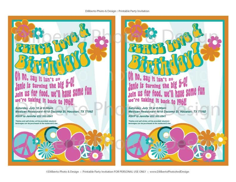 PRINTABLE Party Invitation : Hippie 1960s by dilibertodesign