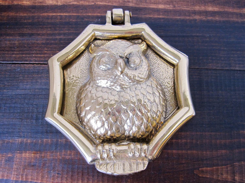 Vintage brass owl door knocker doorknocker by thelazypeacock - Vintage brass door knocker ...