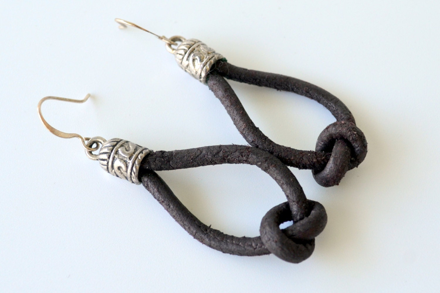 leather earrings knotted brown leather cord by shoreadore