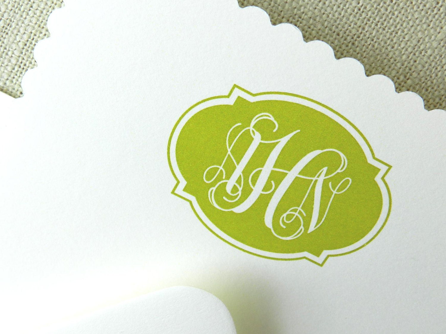 Monogram Reverse Scalloped Card: Spring Green