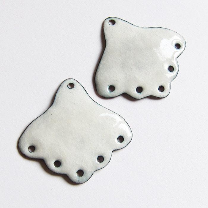 DIY Artisan Earring Components, Handmade White Enamel Earring Findings, Chandelier Jewelry Supplies - OxArtJewelry