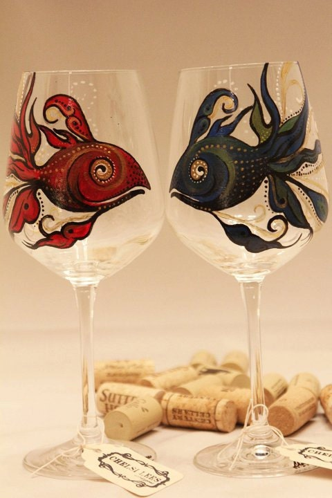 Hand Painted Wine Glass Red Fish Blue Fish Set Of 2 By