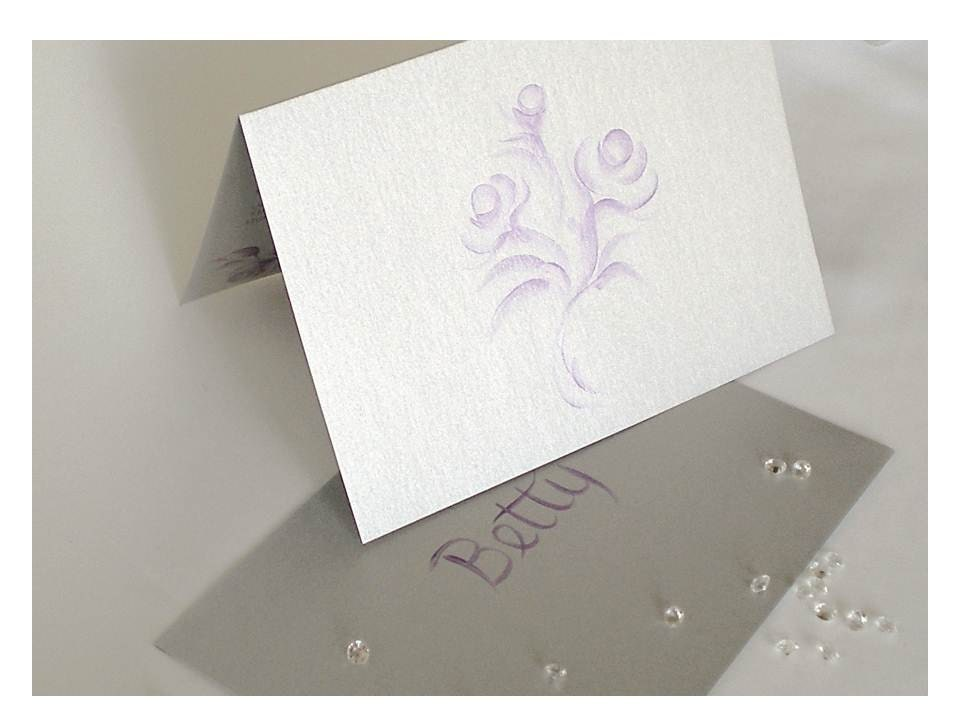 Be My Bridesmaid Cards Plum Roses on Silver Hand Painted Set of 4