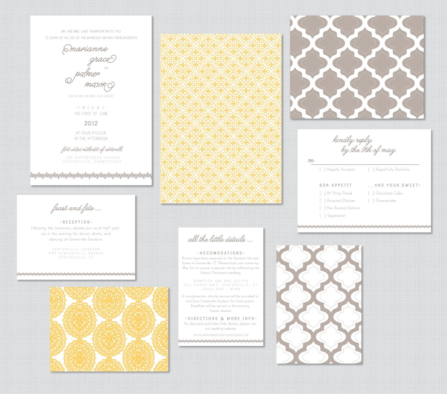 Vintage Modern Wedding Invitations - Wedding Maps/Wedding Invite/RSVPs/All in one