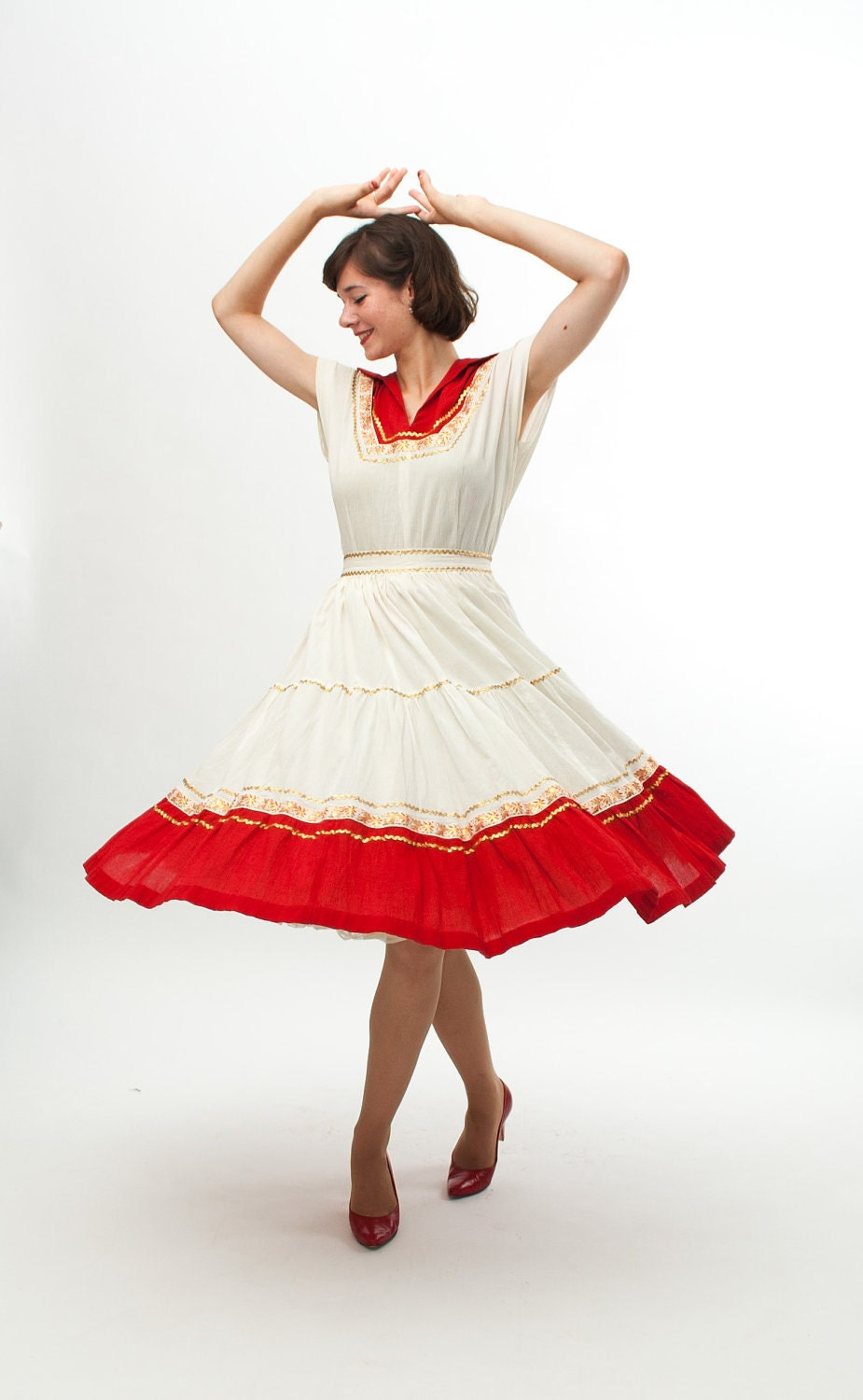 Vintage 1950s Patio Dress - 50s Western Dress - Red and White - concettascloset