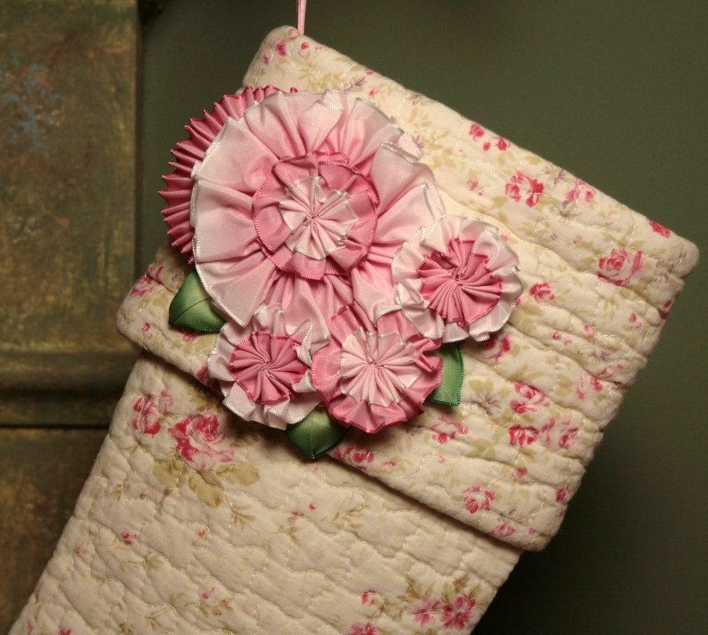 Vintage-Look Дарем розовых роз Рождественский чулок с Дамских Цветы