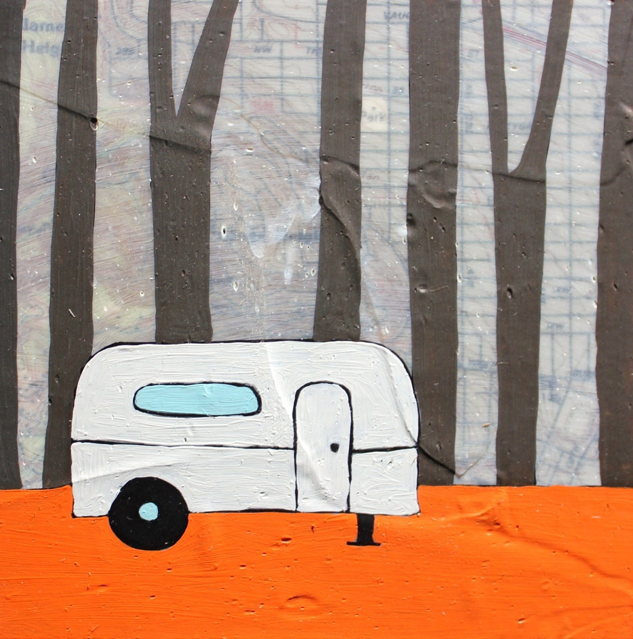 Willamette Heights - Original Map Painting 5 x 5 - Airstream trailer art - rachelaustin