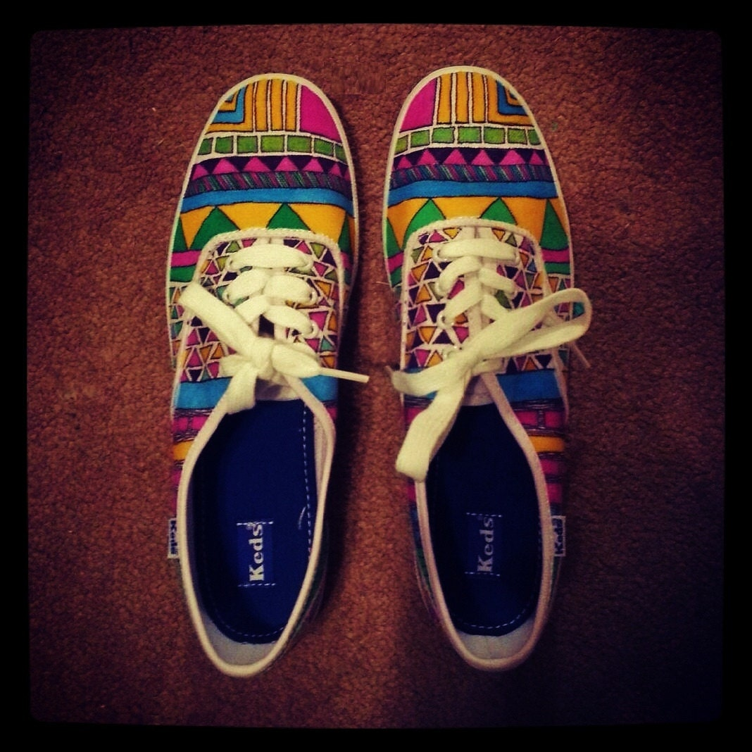tribal aztec keds or vans s shoes canvas shoes by