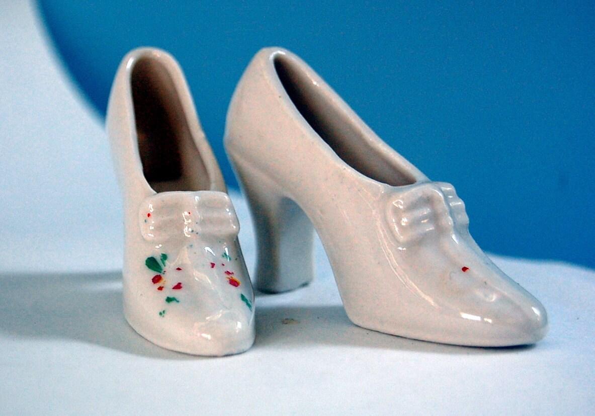 sale 25 vintage mini ceramic high heel by mynamewasvintage