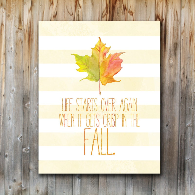 Fall Art Print: Fall Quote, Home Decor, Printable, Watercolor, Seasonal Art, Instant Download, 8x10, Modern, Eclectic, Leaf - madebykatydesigns