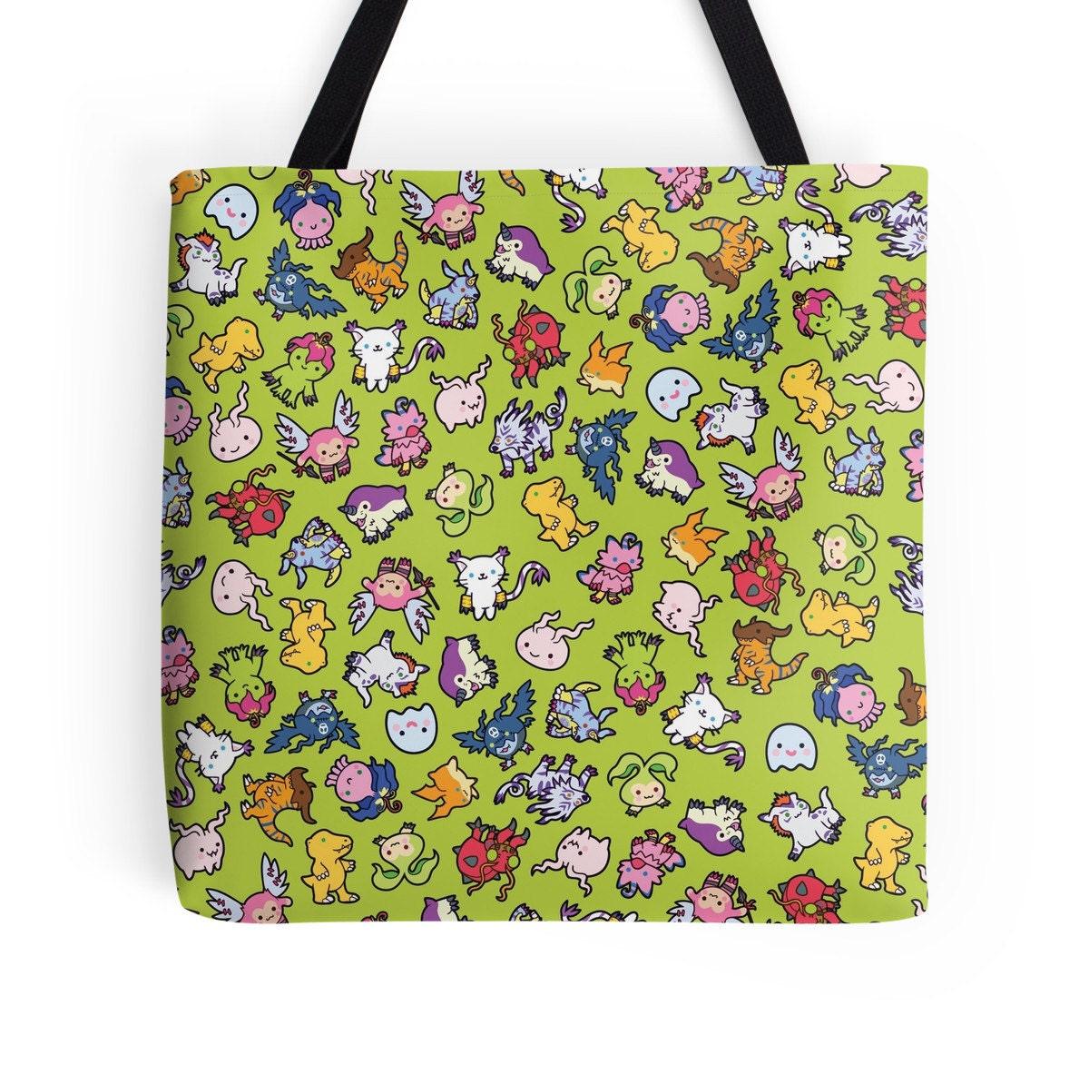 Chibi Digimon Pattern  Digimon World  Polyester Premium Tote Bag