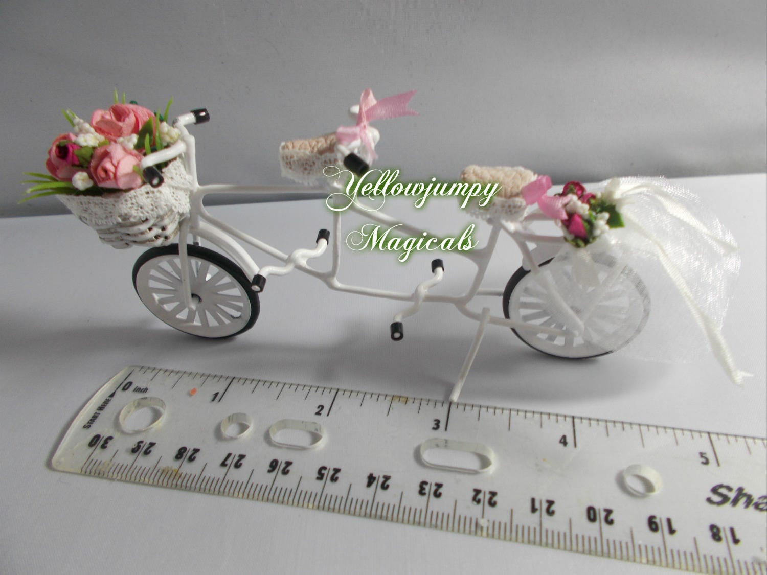 112th or 124th miniature Tandem suitable for a wedding cake topper or dollhouse.Hurrah New stock ready to be made 23 days waiting.