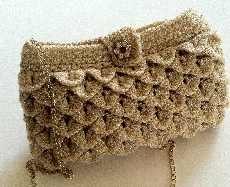 Crochet Crossbody Bag Pattern : Crochet Pattern for Clutch Purse Evening Bag by ...