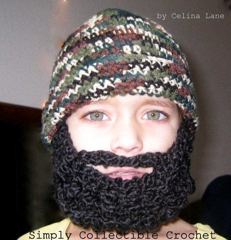 Crochet Pattern For Baby Hat With Beard : Crochet Beard Pattern Child Beard Hat Pattern by ...