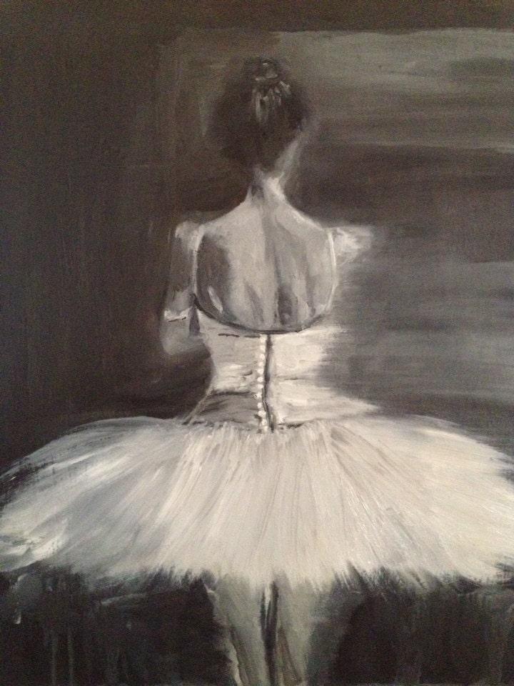 Giclee Fine Art Print of Midnight, Original Figure Ballerina Portrait Oil Painting on Wood-16x20 - DanaLanzinoArt