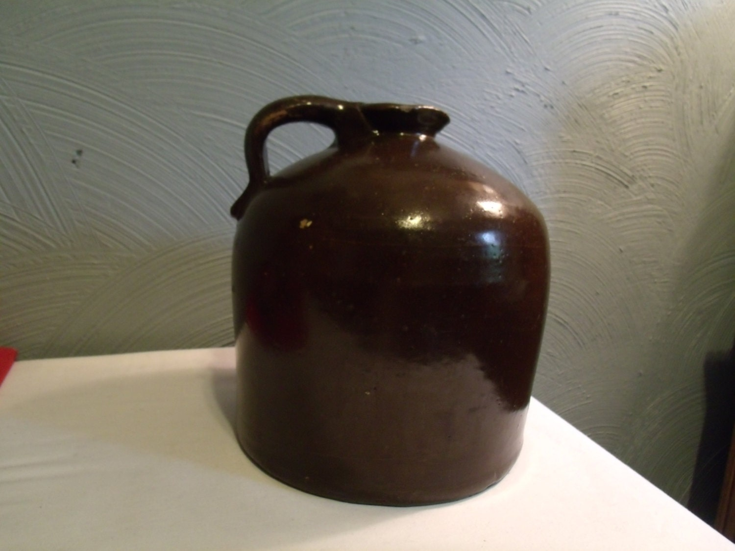 Antique Stoneware Jug Crock Brown Moonshine by ...