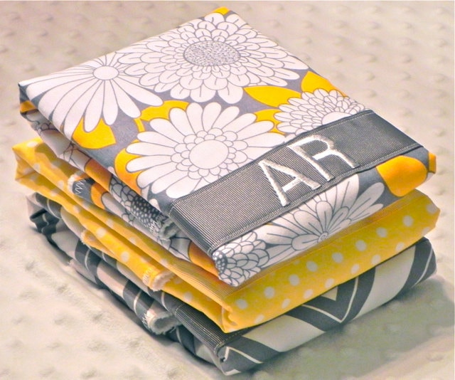 Personalized Burp Cloths - Baby Girl Gray and Yellow Flowers Chevron and Polka Dots - lunaandbean