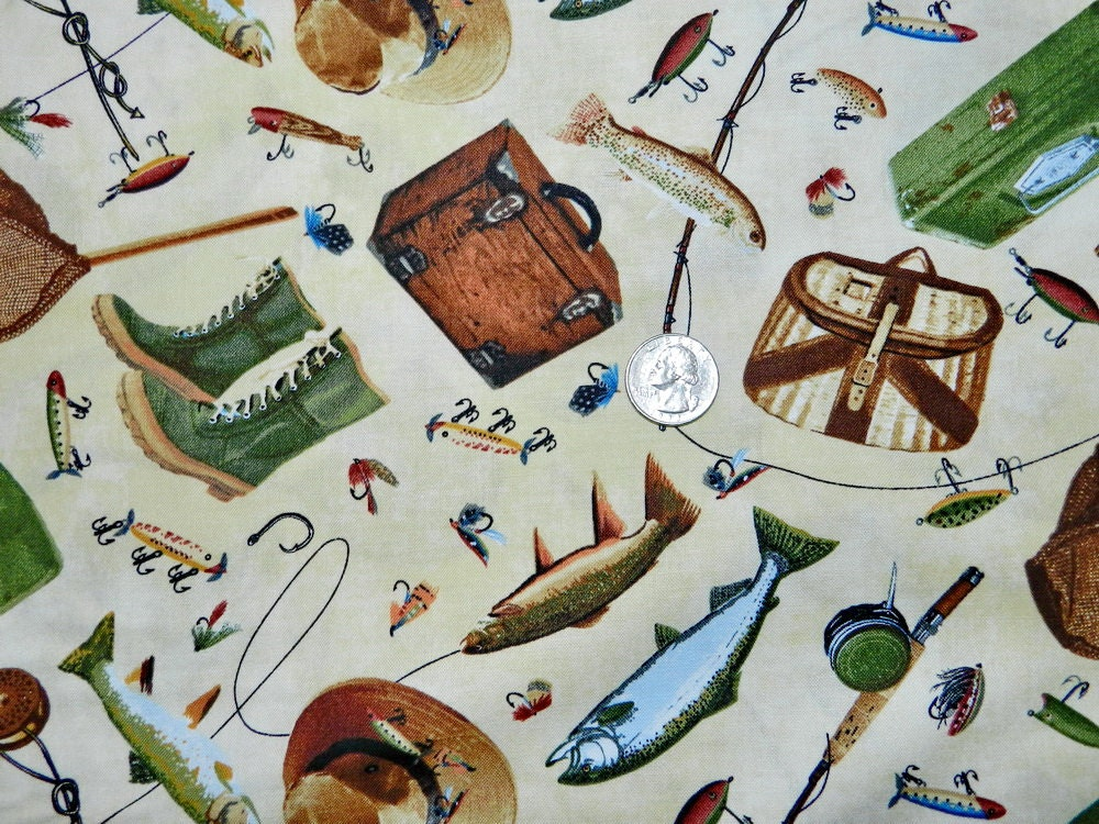 Fishing gear fabric by the yard by thefabricfox on etsy for Fish fabric by the yard