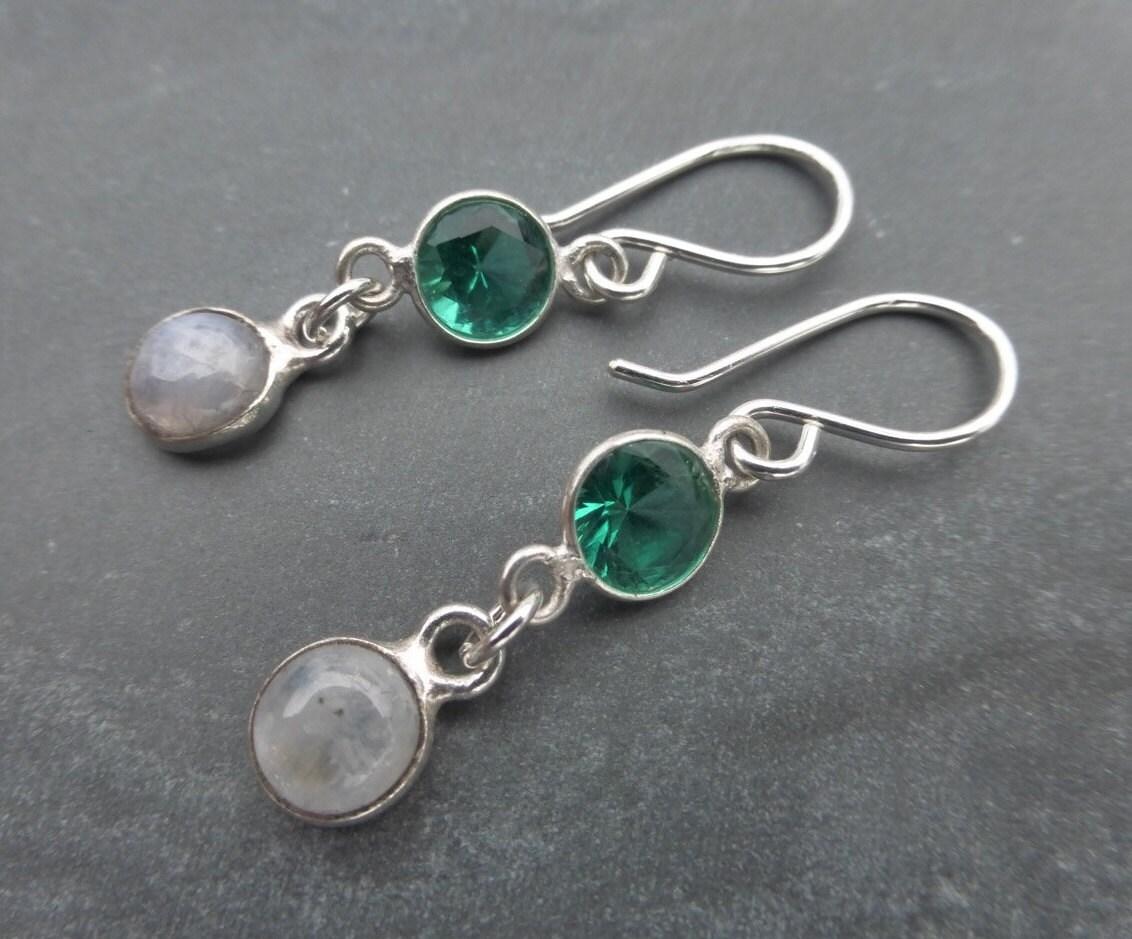 Queen Of Oz  Emerald Green Quartz  Rainbow Moonstone Gemstone 925 Sterling Silver Edwardian Style Earrings