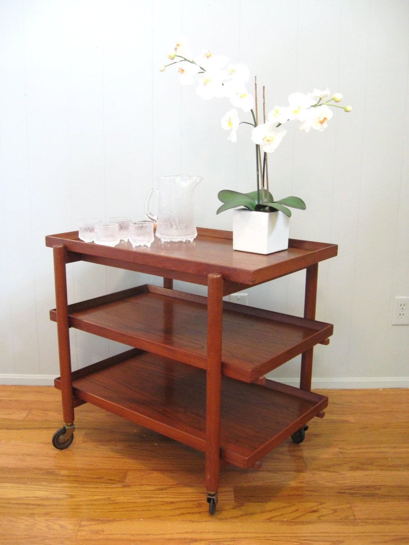 mid century danish modern teak serving bar cart by fabulousmess. Black Bedroom Furniture Sets. Home Design Ideas