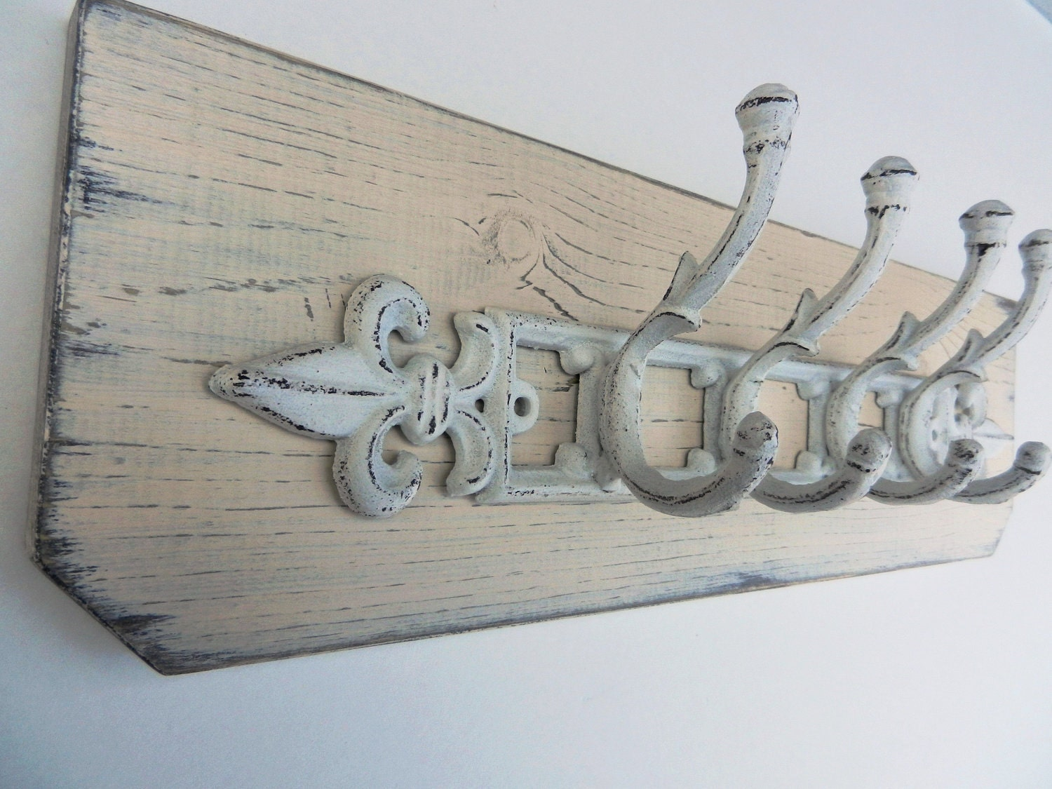 SALE-Shabby Chic-French Country-Distressed-Primitive Wall Hanger w/4 White Double Cast Iron Hooks-Butter Cream
