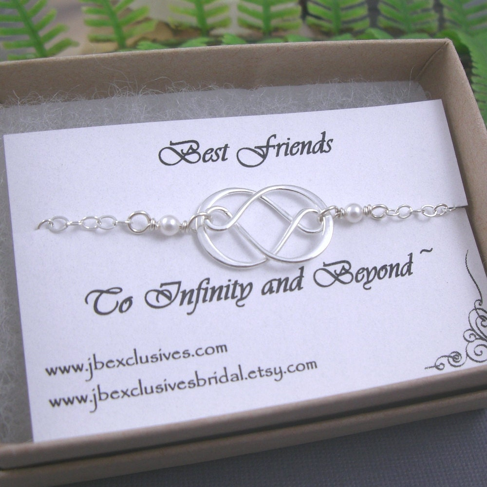 Bridesmaid gift - wedding - sterling silver double infinity love ...