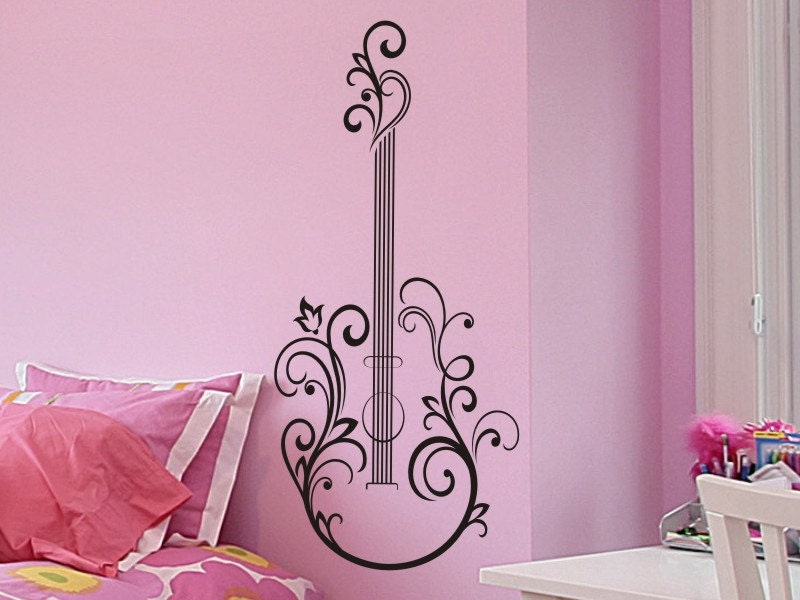 Guitar Wall Decal Sticker Abstract Floral Design by
