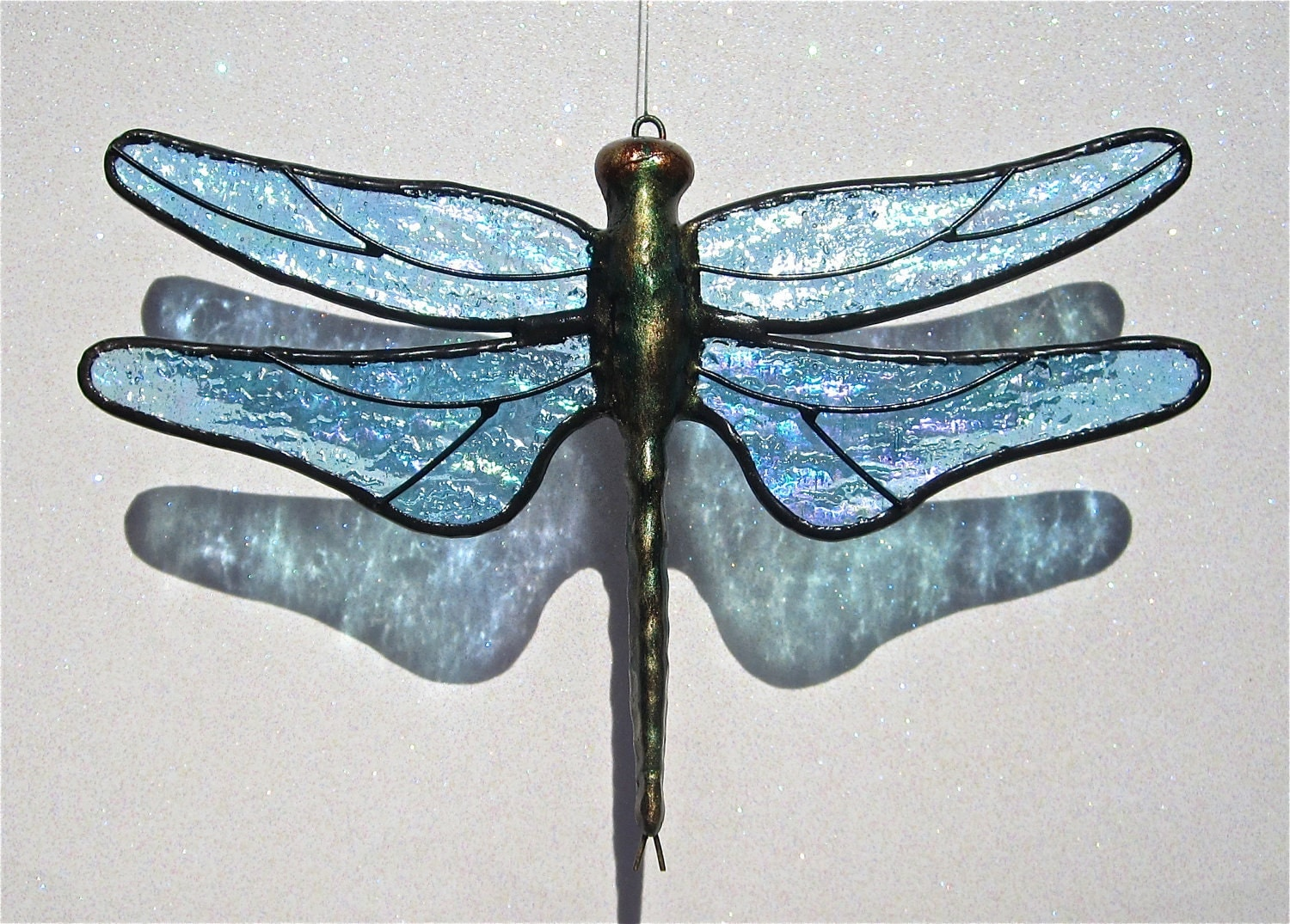 Stained Glass DRAGONFLY Suncatcher, Sparkling Light Ice Blue, Iridescent Wings & Handcast Metal Body, USA Handmade - stainedglasswhimsy