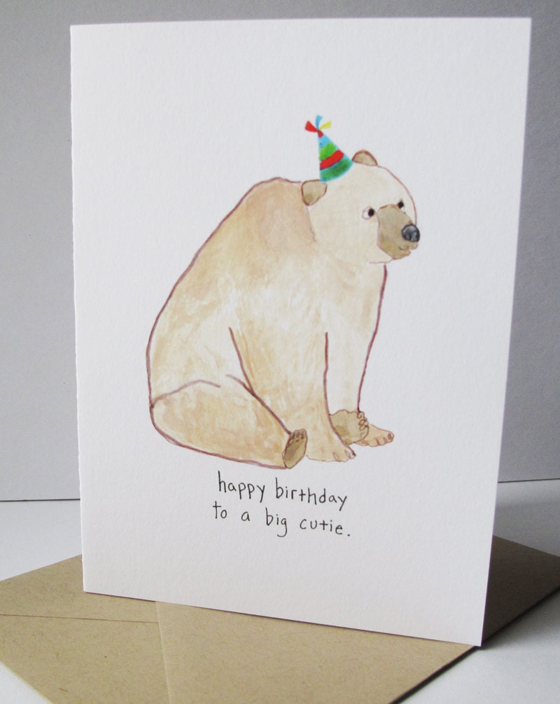 Happy Birthday Card.  Birthday Bear.  Print of my Original Watercolor Painting.  Birthday Card for Men.