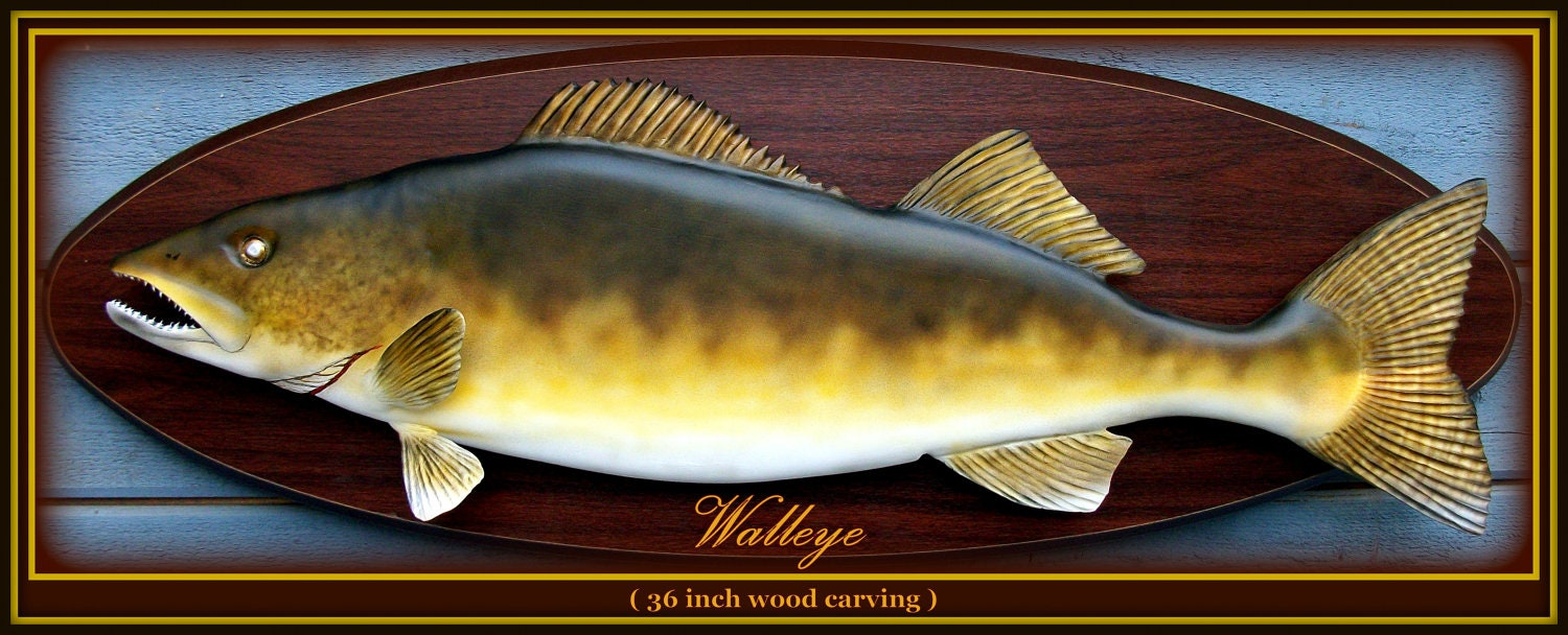 Walleye fish wood carving fishing art game wall by