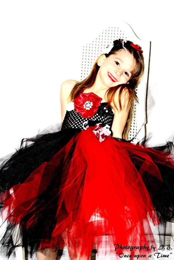 Handmade black and red flower girl dress great for wedding christmas