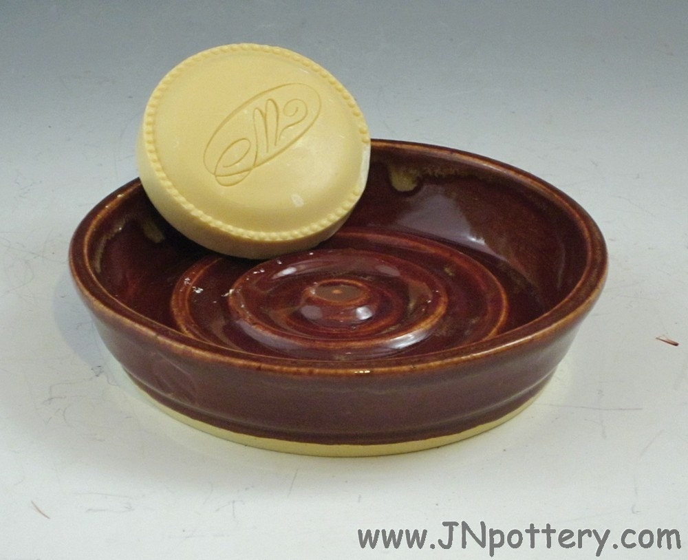 Round Rimmed Soap or Trinket Dish, Handmade Ceramic, Brick Red with Creamy Caramel Drip Rim  h097