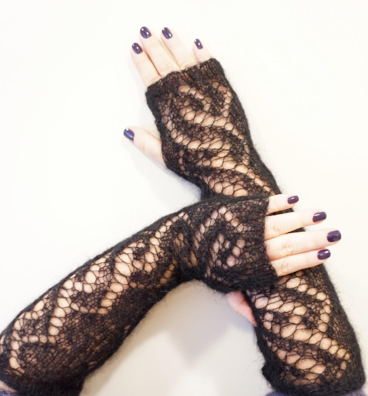 Long lace fingerless gloves
