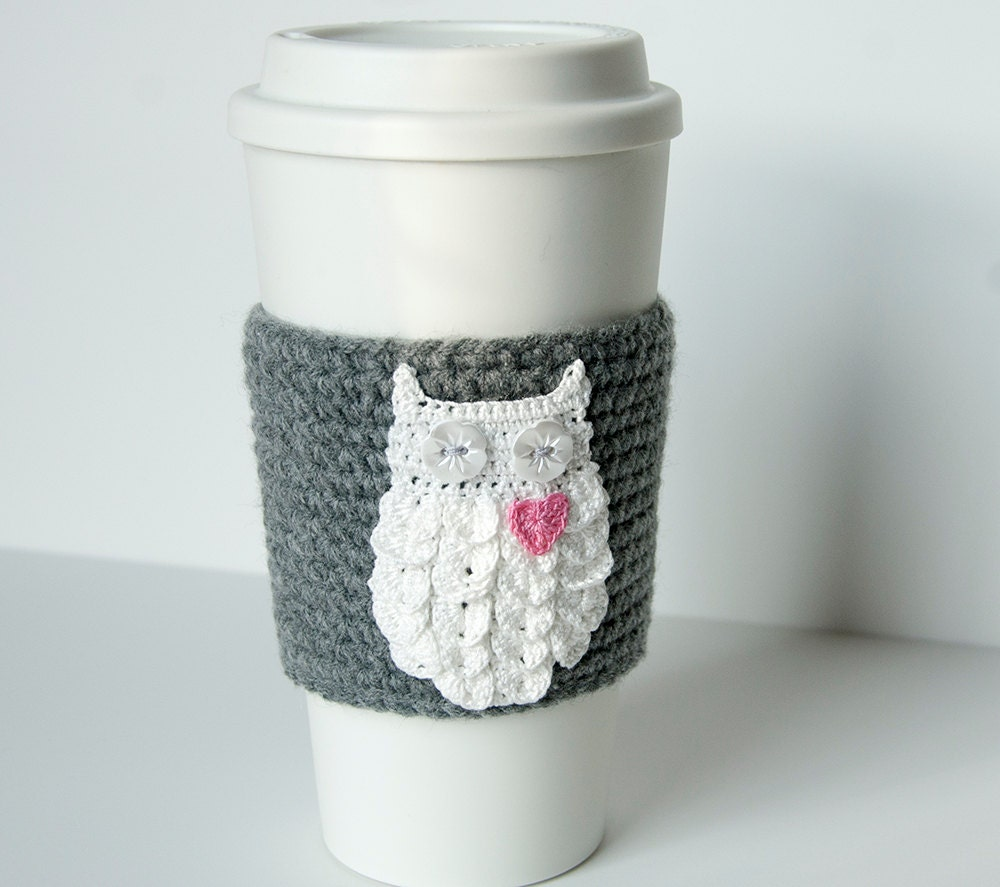Hand crocheted coffee cosy cozy, owl always love you, starry button eyes, on a true gray sleeve, valentine gift - TableTopJewels