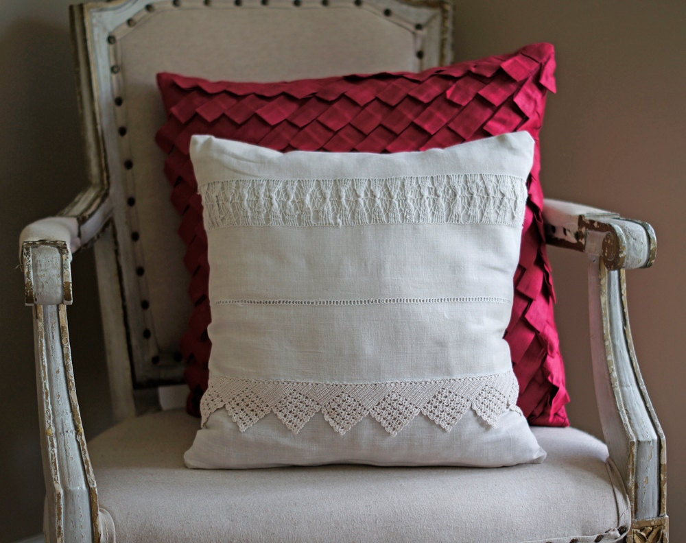 Cushion Cover Pillow Natural Ivory Ecru Cream Linen Lace Shabby Chic Pillow Cover OOAK - TangerineToes