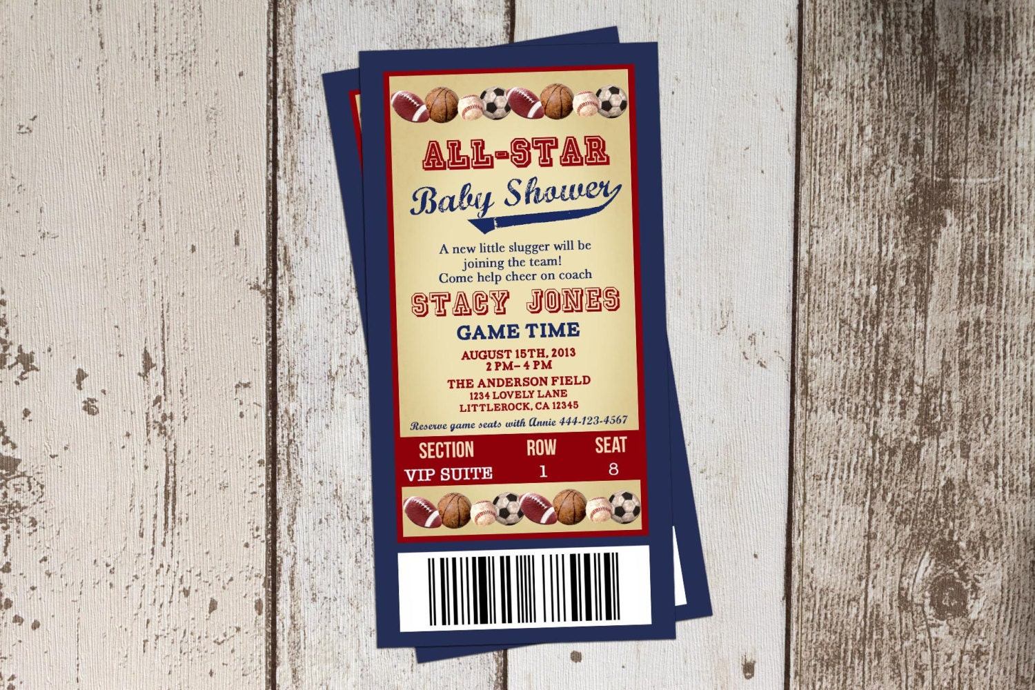 all star themed baby shower invitation all sports ticket jpg file