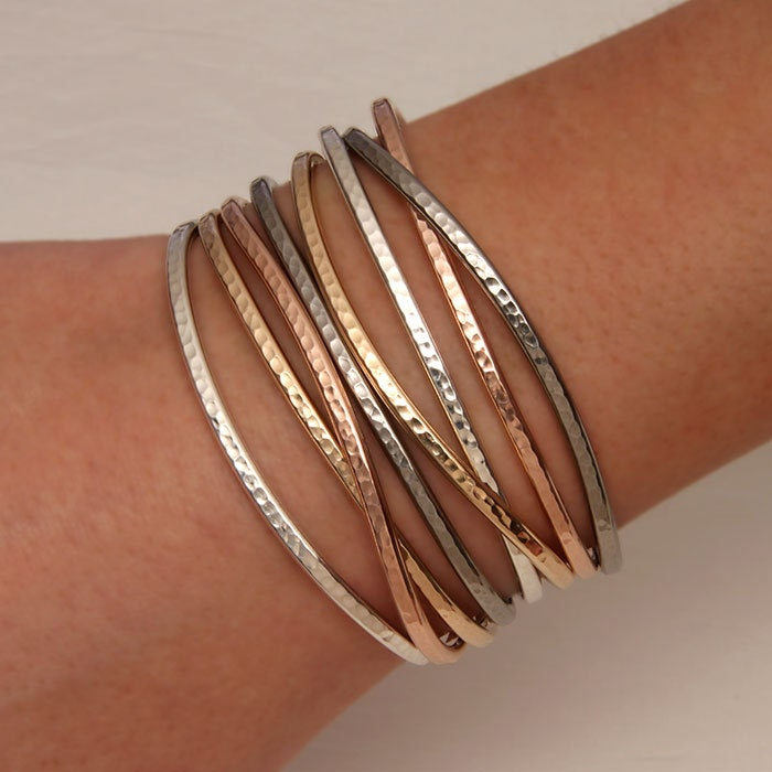 Hammered Cuff Bracelet Silver  The House of Gentry