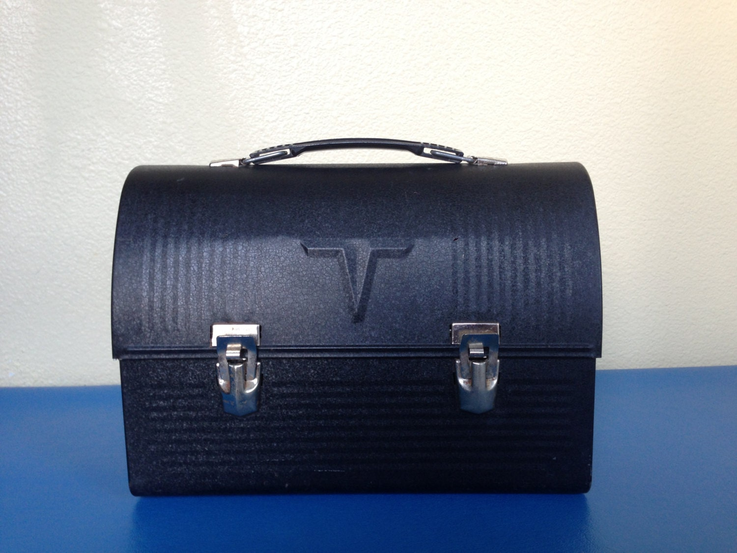Vintage 1950 S Black Metal Thermos Lunch Box By