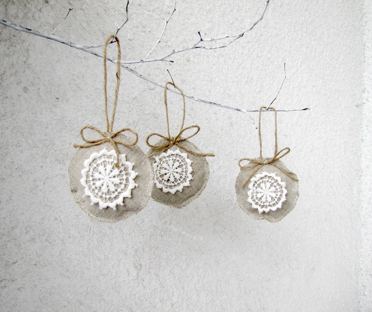 Christmas Ornaments, Linen and lace Holiday ornaments, shabby, chic, eco friendly - set of 3 - HelloVioleta