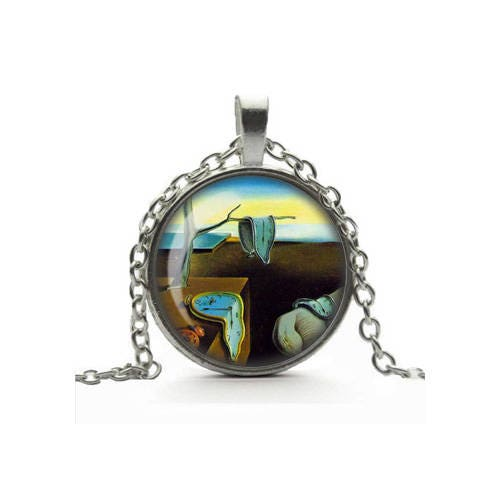 Salvador Dali Necklace The Persistence of Memory Pendant Melting Clocks Glass Cameo Tile Necklace Surreal Art Jewelry Art Lover Gift