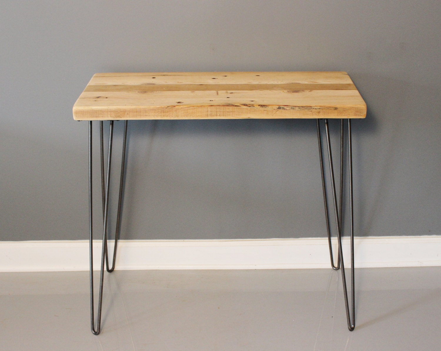 Reclaimed urban wood console table w hairpin legs by for Sofa table urban barn