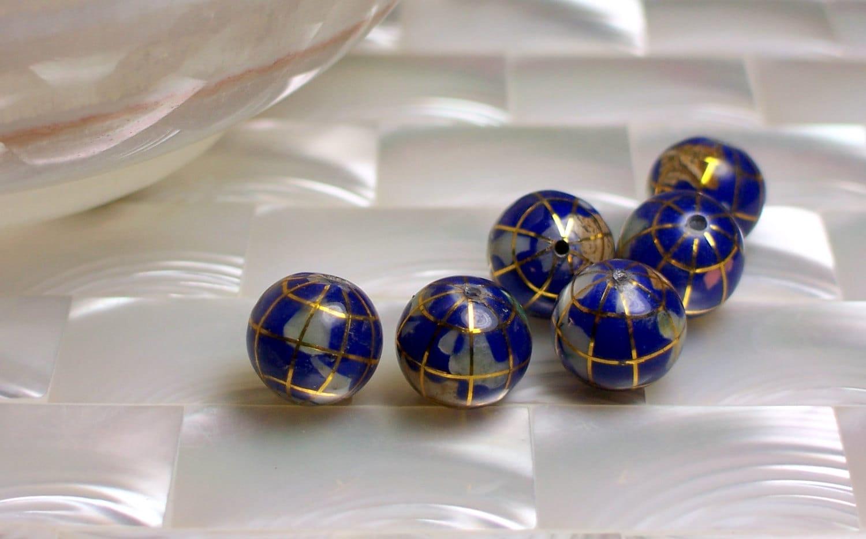 2pcs 10mm Gemstone Blue Lapis Inlay GLOBE beads - jwlrywrkroom