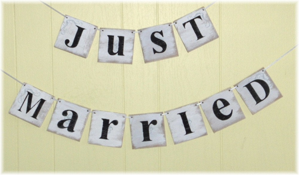 Just Married Wedding Banner Garland Shabby Chic White 4 x 4 Wood Tiles Two