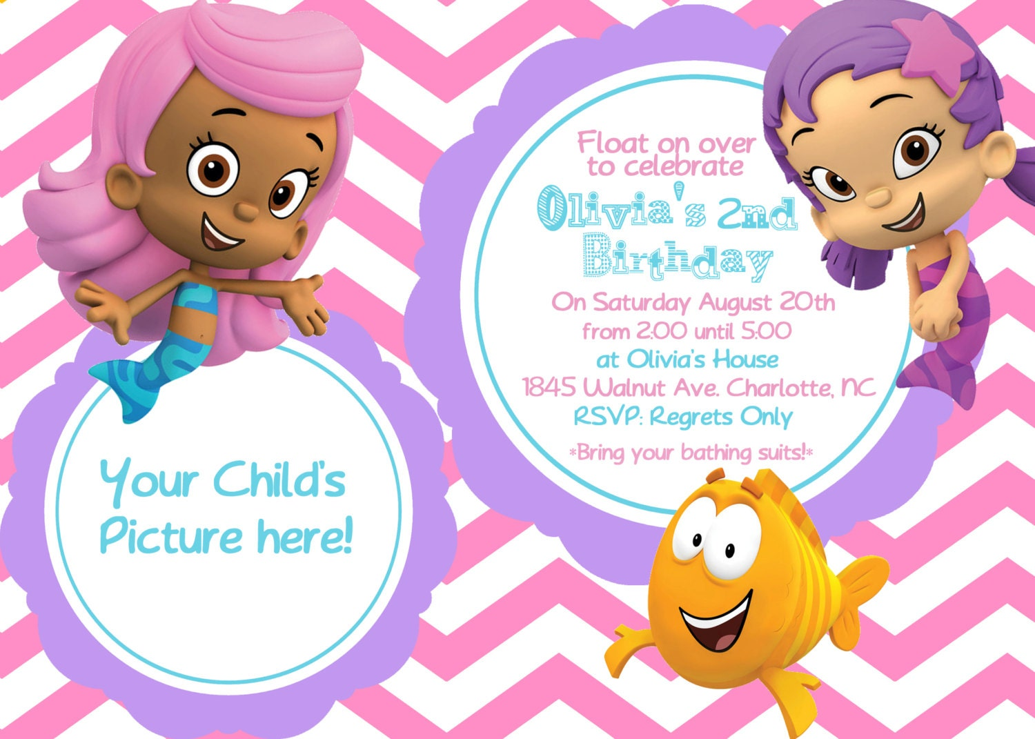 Bubble Guppies Printable Thank You Cards By Emmaspartycreations