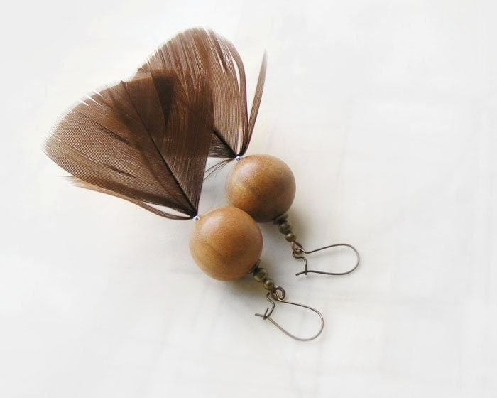 Bird fashion, Wood Feather Earrings, Brown with wood, ethnic jewelry
